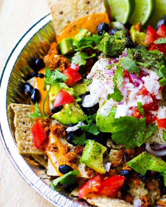 Vegan Nachos (with chips, black beans, vegan cheese, jalapeno, avocado, red onion,