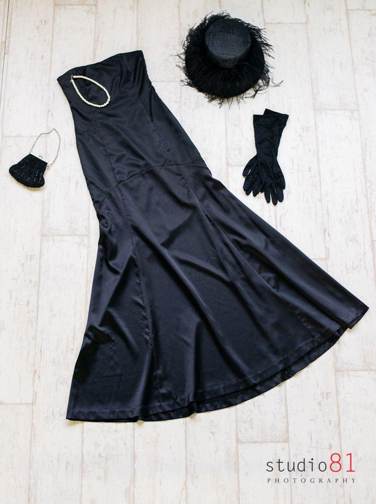 Black Evening Mermaid Satin Gown (Size 6-8), Black Long Gloves, Pearl Necklace, Black Vintage Ostrich Feather Hat, Black Beaded Handbag