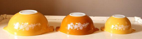 @Brande Bogosian, Vintage Pyrex Butterfly Gold Pattern Cinderella by VidaliasVintage, $43.00