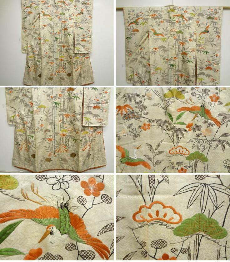 アンティーク 松竹梅に鶴亀模様刺繍小袖 the second half of Edo period quilted silk garment
