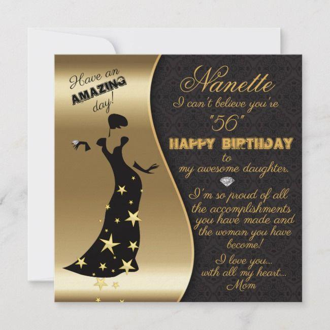 Fancy Lady 56th Birthday Black Gold Birthday Card Zazzle Com