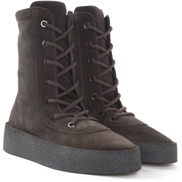 Yeezy by Kanye West Crepe Suede Boots Season 4 ($675) ❤ liked on Polyvore featuring shoes, boots, nero, rounded toe boots, black boots, black round toe boots, round toe boots and black laced shoes