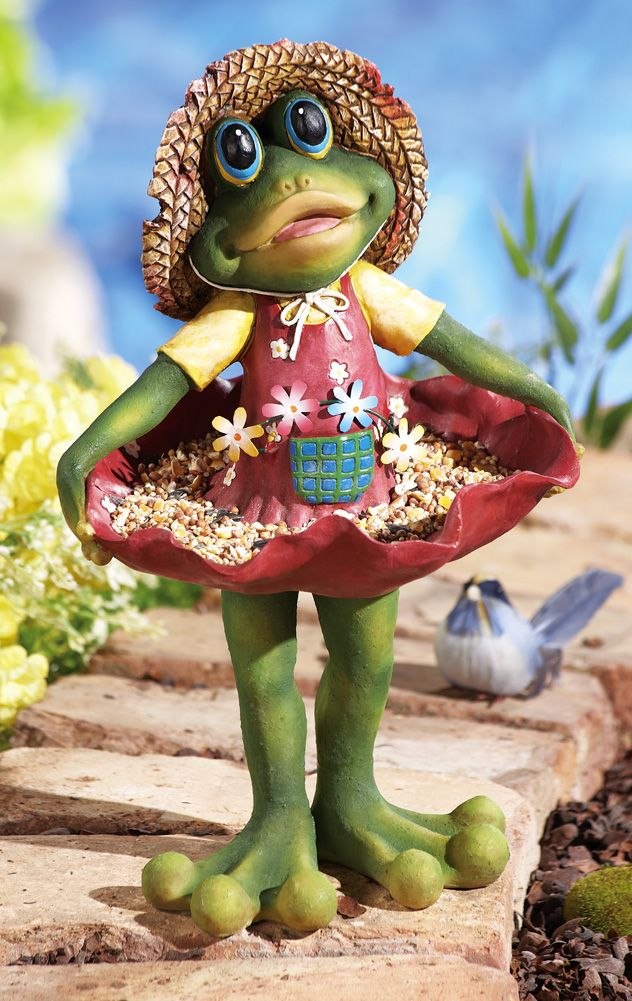 Shirley Frog Whimsical Birdfeeder Garden Statue (Collections Etc.)  (Whimiscal Friend Froglet Who Loves Little Frogs).