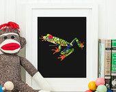 Bouton strass de Swarovski Flatback Art rainette aux yeux rouges et des boutons 8 x 10 grenouille pépinière Art grand cadeau !
