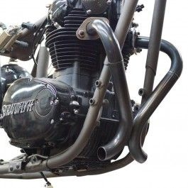 "XS650 motocicleta Chopper y Bobber de piezas Yamaha XS650 Sistema de escape ""Doble D"" por Pandemonium"