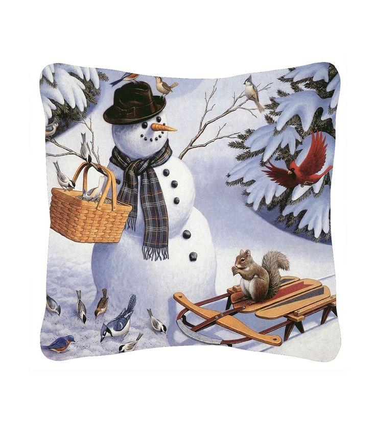 FashionSupreme - Față de pernă cu Om de zăpadă imprimat - Pentru casă - Feţe de pernă - Sofi - perne decorative cu motive de Crăciun. Haine şi accesorii de marcă. Haine de designer.
