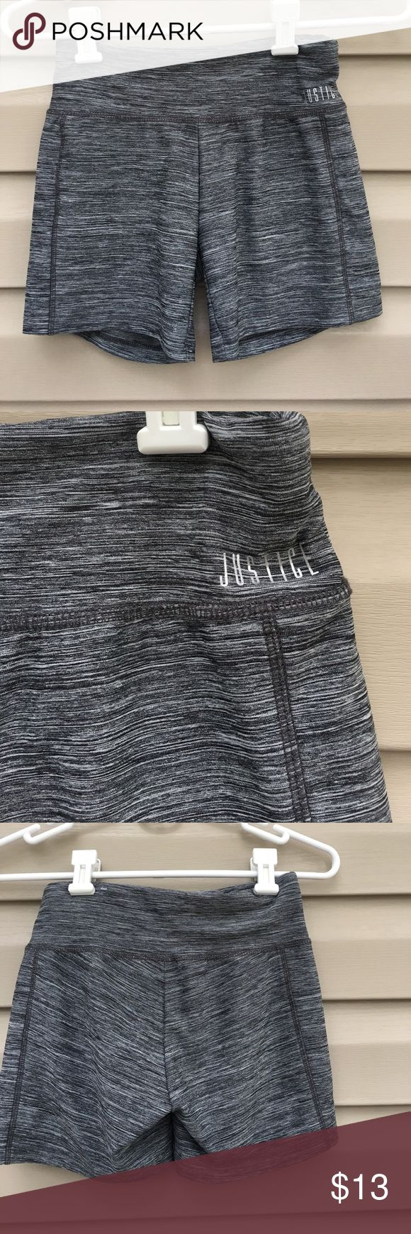 Justice girls gray athletic shorts Like new girls pull-on athletic shorts gray/ silver pattern,88% polyester 12% spandex. No snags, stains or holes. Justice Bottoms Shorts