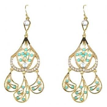 Talullah Tu - Turquoise Bead Crystal Chandelier Earrings