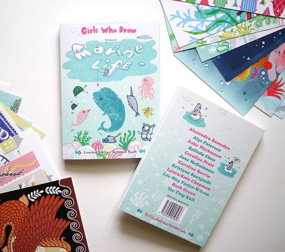 Girls Who Draw Postcard book - Marine Life, book of 24 illustrated postcards by 12 different female illustrators from the UK.