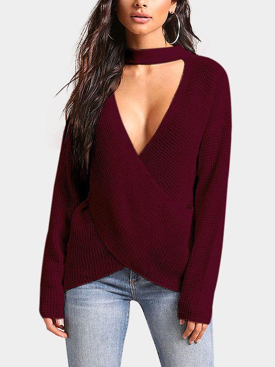 8d80e701450f20 Burgundy Crossed Front Design Deep V Neck Sweater - US 28.95