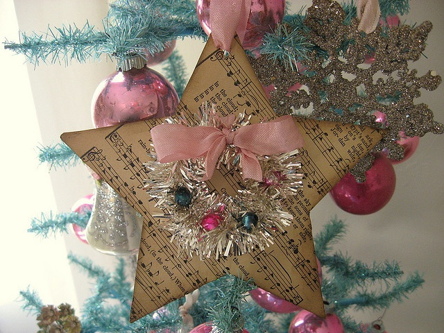 Star Ornament with Tinsel wreath