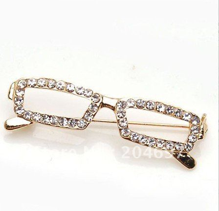 Vintage Cats Eye Eyeglasses Brooch Pin Rhinestone