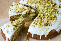 Diana Henry's courgette, lemon and pistachio cake. Photo by Laura Edwards, food styling by Joss Herd