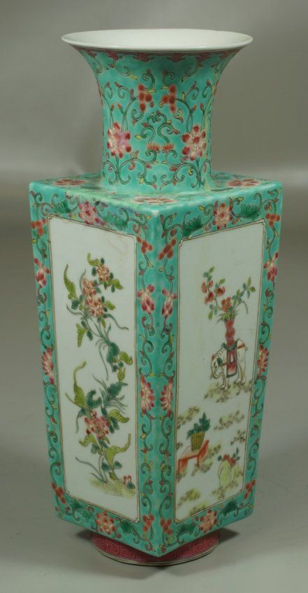 "Chinese porcelain famille rose decorated vase with elephants, mark to base, 13"""