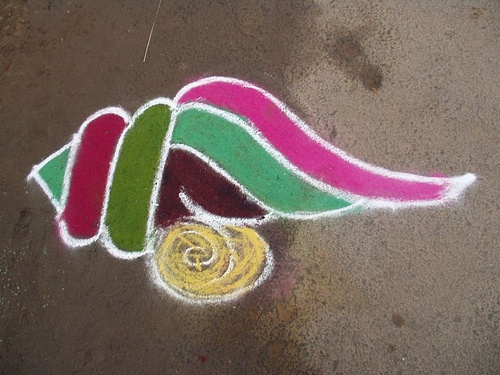 sankranti muggu rangoli design (conch shell)
