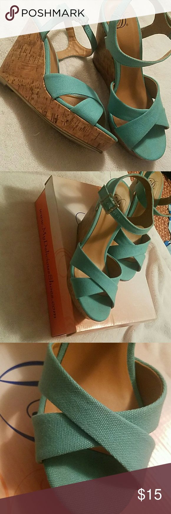 Mid teal wedges Cute. Only worn once teal wedges. Would look great  with summer dresses or jeans. Still have Original box they came in. Shoes Wedges