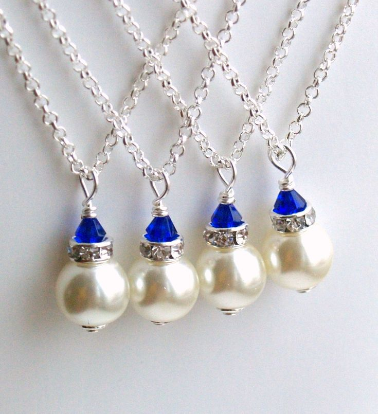 Royal Blue Necklace, Bridesmaid Gift Jewelry, Royal Blue Ivory Swarovski Pearl Beads Bridesmaid Necklace, Bridesmaid Jewelry Wedding party  The listing is for 1 necklace.  This royal blue bridesmaid jewelry necklace is made from ivory Swarovski glass pearl beads, rhinestone spacers. The chain is 45cm or 18 long.  Matching bracelet You can find here: https://www.etsy.com/listing/125088917/ivory-royal-blue-bridesmaid-bracelet?ref=shop_home_active   Matching royal blue bridesmaids jewelry…