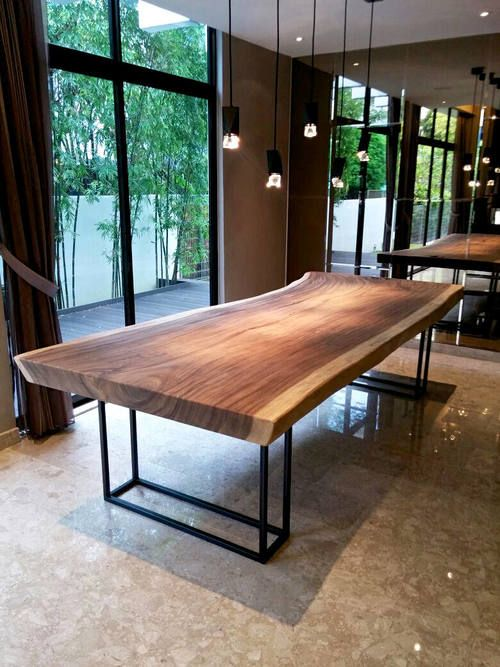 3 Meter Suar Table With Black Powder Coated Steel Frame Legs