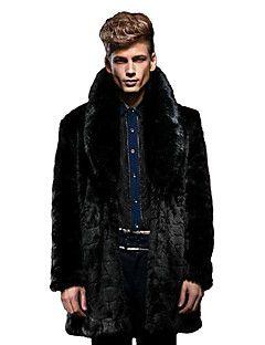 Manteau en Fourrure Hommes,Couleur Pleine Décontracté / Quotidien / Habillées / Travail Vintage / Chic de Rue Manches LonguesRevers en