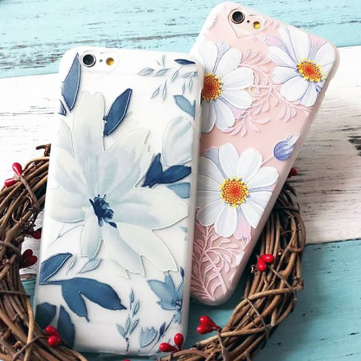 "New Arrival Ultrathin Cartoon Flower Case for iphone 6 6S Plus 6Plus 4.7/5.5"" Floral Daisy Plants Pattern Phone Cases Cover Capa"