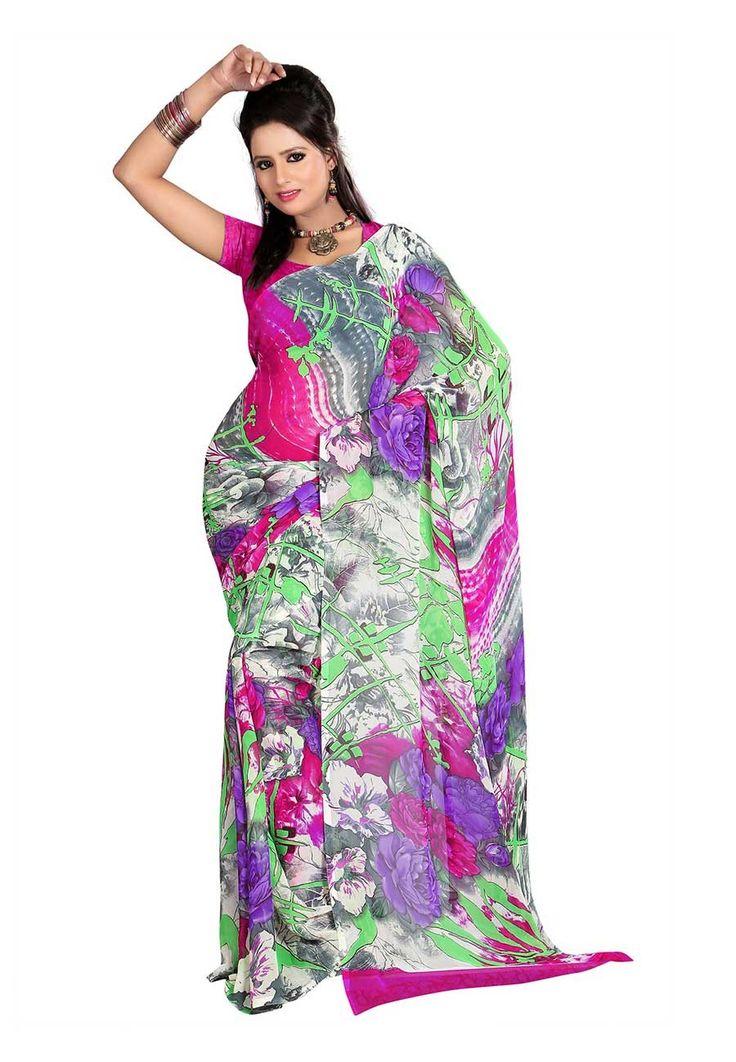 Fabdeal Grey & Pink Colored Dani Georgette Printed Saree