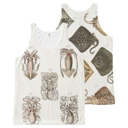 Octopus Squid Stingray Vintage Sea Life Art All-Over-Print Tank Top - animal gift ideas animals and pets diy customize