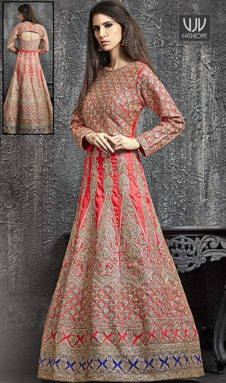 Auspicious Pink Color Dupion Silk Designer Anarkali Suit  Authentic elegance can come out of your dressing trend with this pink color dupion silk designer anarkali suit. The interesting embroidered, patch border and resham work a significant feature of this attire.