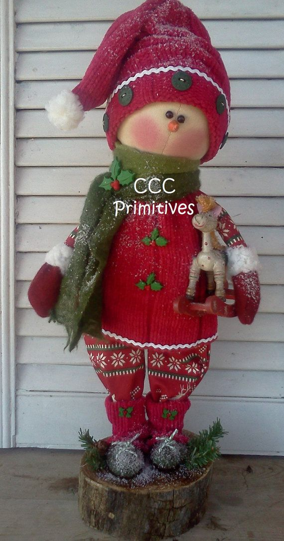 Primitive Holly Snow Girl  Primitive Snowman  by CCCPrimitives