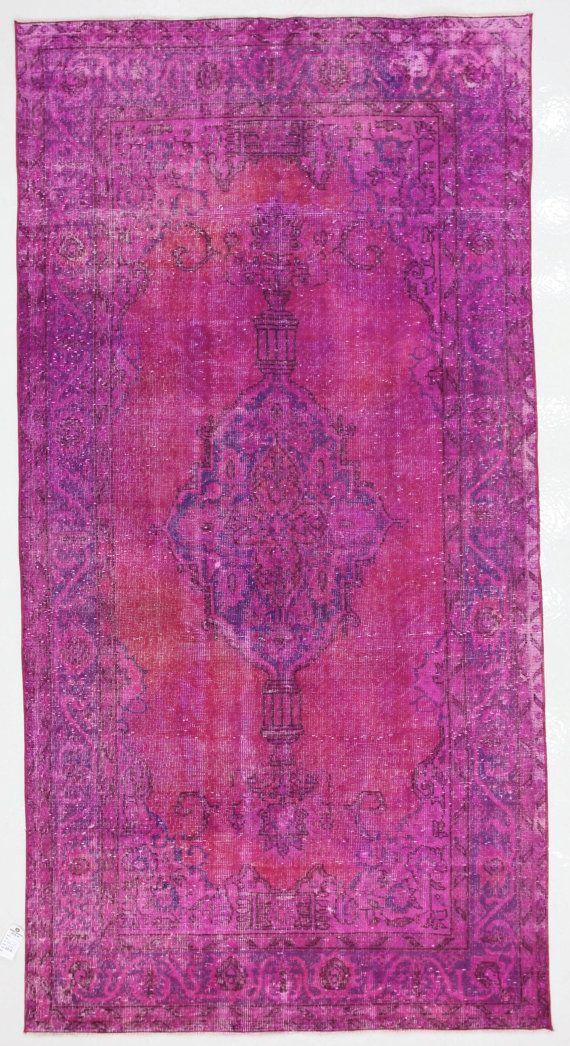 Magenta Overdyed Vintage Turkish Rug by bazaarbayar on Etsy