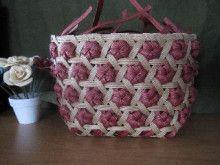 六つ目と花結び編みのバッグ | yayaのゆる~いハンドメイド