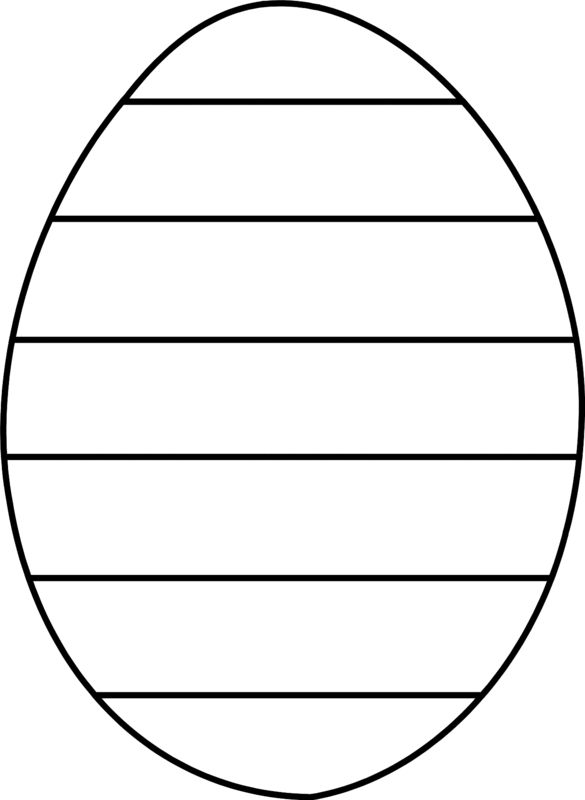 Easter Egg Coloring Pages Large Easter Egg With Stripes