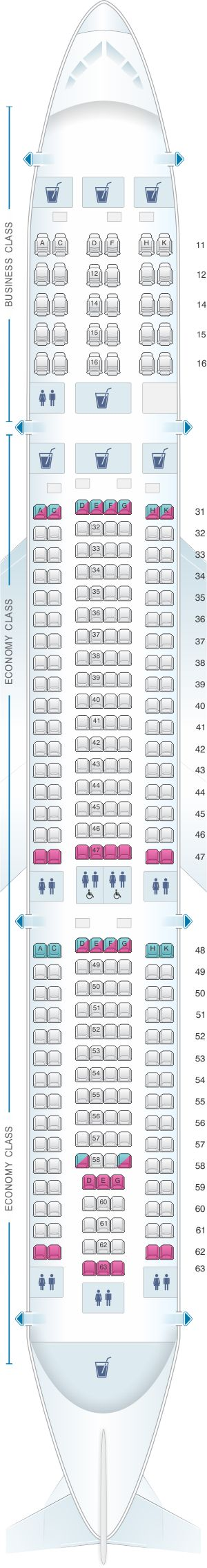 Seat Map Singapore Airlines Airbus A330 300