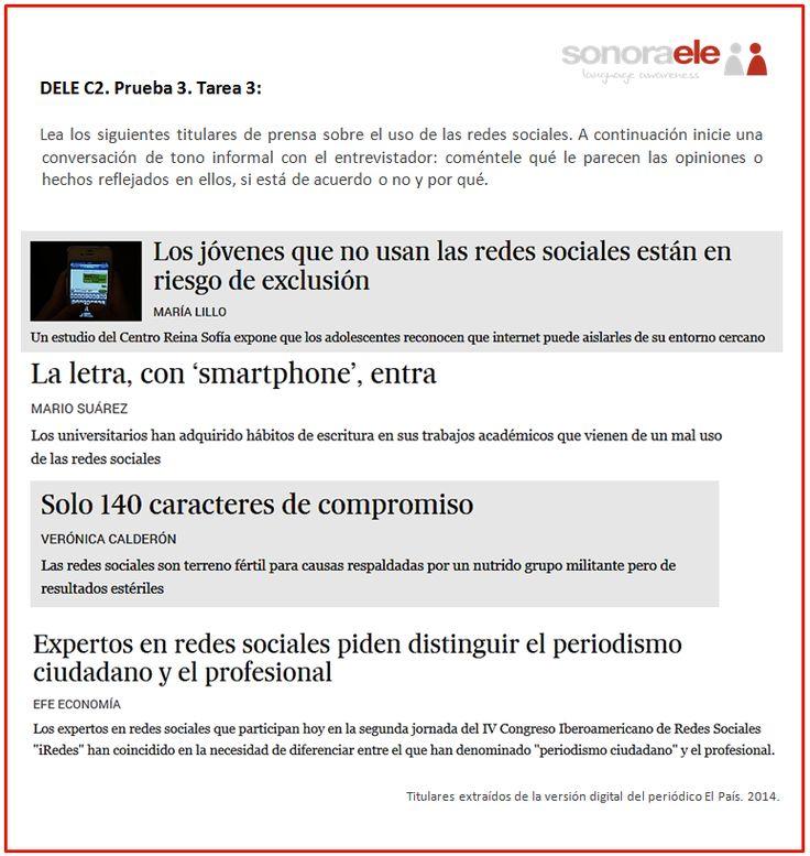 DELE C2. Prueba 3. Tarea 3. Titulares sobre el uso de las redes sociales (1).