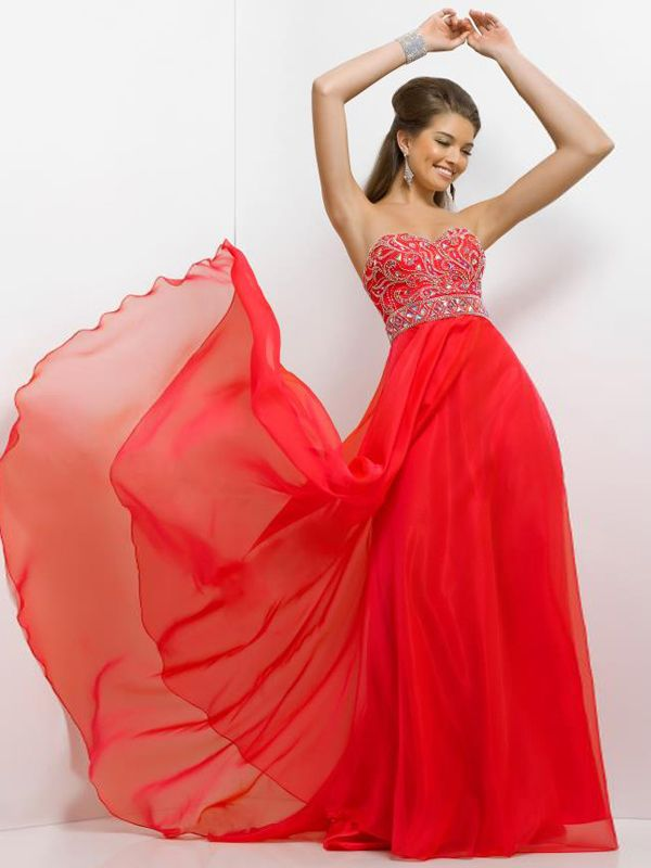 A-line Sweetheart Sleeveless Chiffon Prom Dresses With Beaded #FP331
