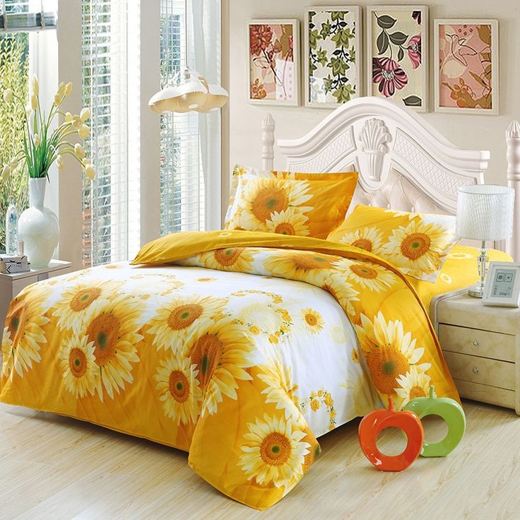 bright orange and white vintage sunflower print rustic style girls and boys cotton twin full size bedding duvet cover sets