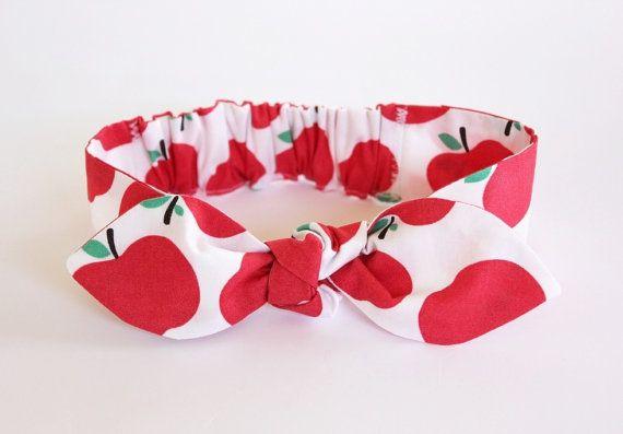 New Baby Headband Apple Apple Red Print  Baby by ElleBelleBliss
