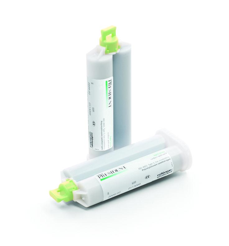 PRESIDENT CARTUCHO Material de impresión de baja viscosidad. Excelente resistencia al desgarro y la rotura. LIGHT 2 Cartuchos x 50ml - Cod 21011. REGULAR 2 Cartuchos x 50ml - Cod 21012