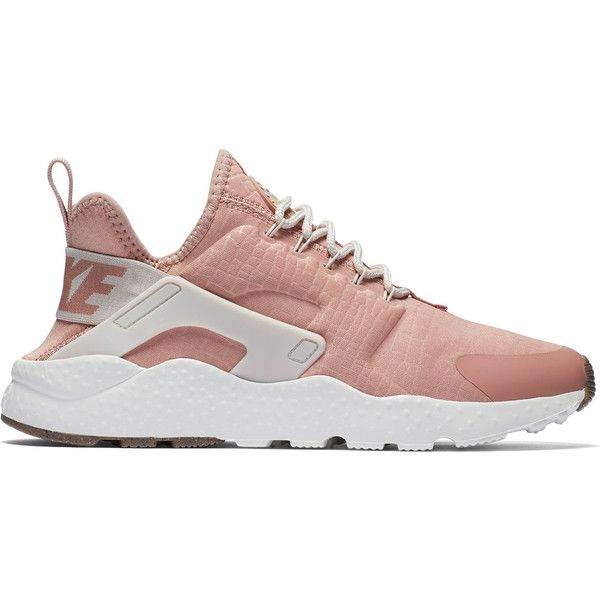 Nike Air Huarache Run (190 AUD) ❤ liked on Polyvore featuring shoes, athletic shoes, pink, pink athletic shoes, nike, pink shoes, pink running shoes and athletic running shoes