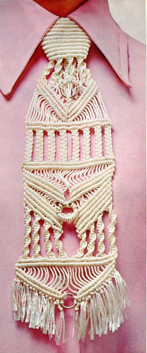 1970s macrame pattern for an absolutely fabulous mans tie.  This may appear intricate but is a beginner project... so says the author of the