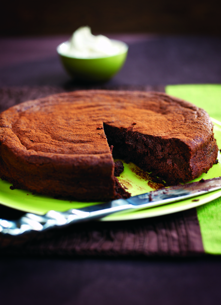 Fallen chocolate truffle cake with amaretto cream from olivemagazine.com