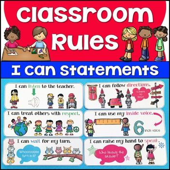 """Illustrated I Can Statement Classroom Rules: This resource includes 14 illustrated classroom rules posters written in familiar """"I can..."""" style language. The classroom rules posters are formatted so that 2 classroom rules (posters) print per 1 page of paper in landscape format."""
