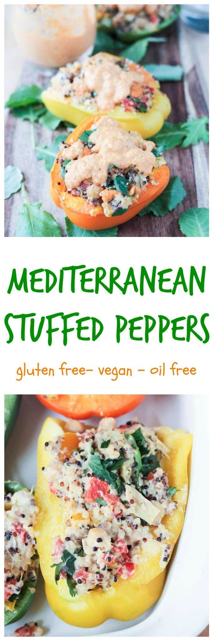 Mediterranean Stuffed Peppers -fresh and bright with the flavors of the mediterranean. A lightened up yet filling dinner that's perfect for spring! #vegan #glutenfree #mediterranean #vegetarian #meatless #meatlessmonday #stuffedpeppers #chickpeas #quinoa #healthy