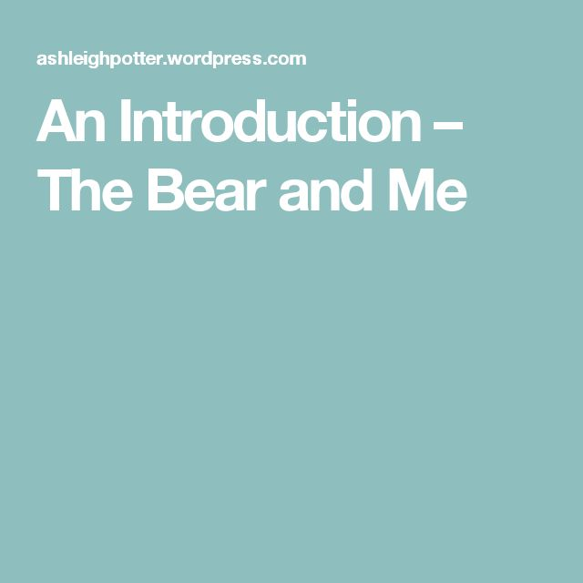 An Introduction – The Bear and Me