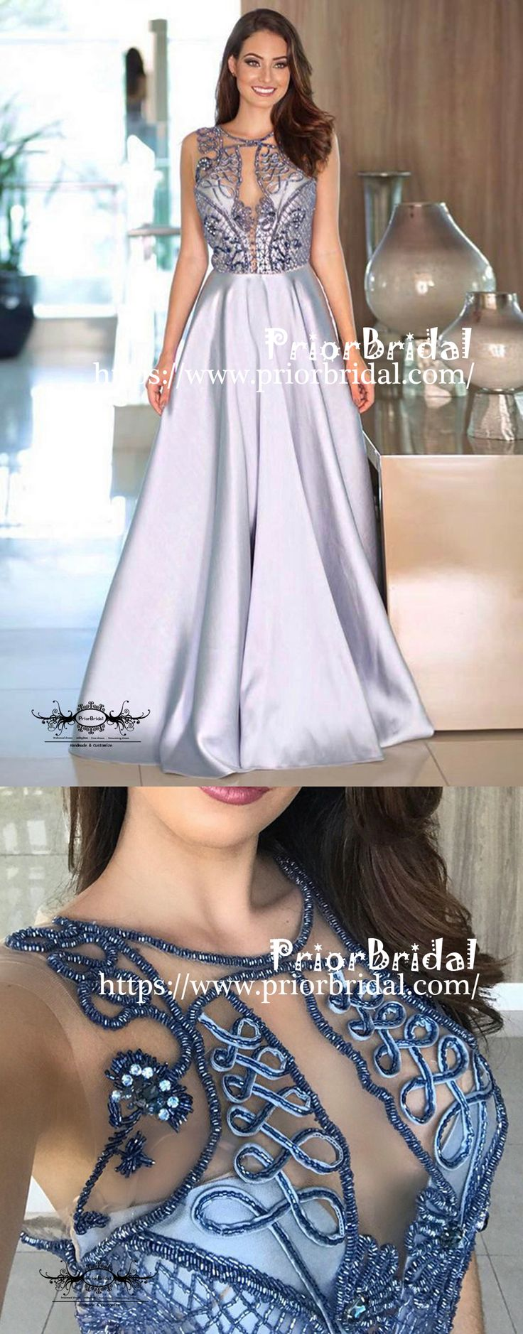 Elegant Beaded See Through Top Round Neck Sleeveless Prom Dresses,PB1042