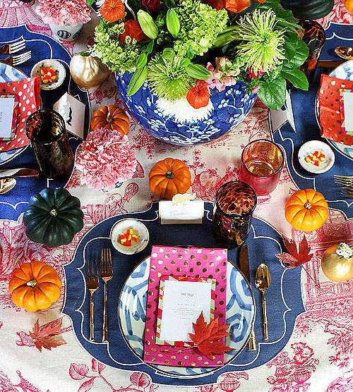 Thanksgiving Table: Furbish | Design Sponge | Pinterest Picks - A Colorful Thanksgiving Table