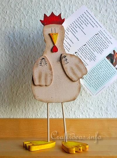 Wood Crafts for Spring - Wooden Chicken Recipe Card Holder for the Kitchen