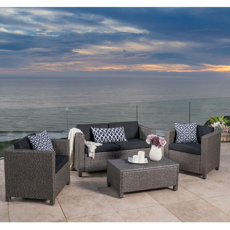 Puerta Outdoor 4-piece Sofa Set by Christopher Knight Home | Overstock.com Shopping - The Best Deals on Sofas, Chairs & Sectionals