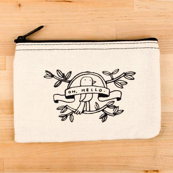 Oh Hello canvas zip. Precious! $15: Mixed Plates, Canvas Bags, Design Ideas, Designi Temporary, Plates Blog, Packaging Design, Canvas Zip, Hello Canvas, Temporary Tattoo