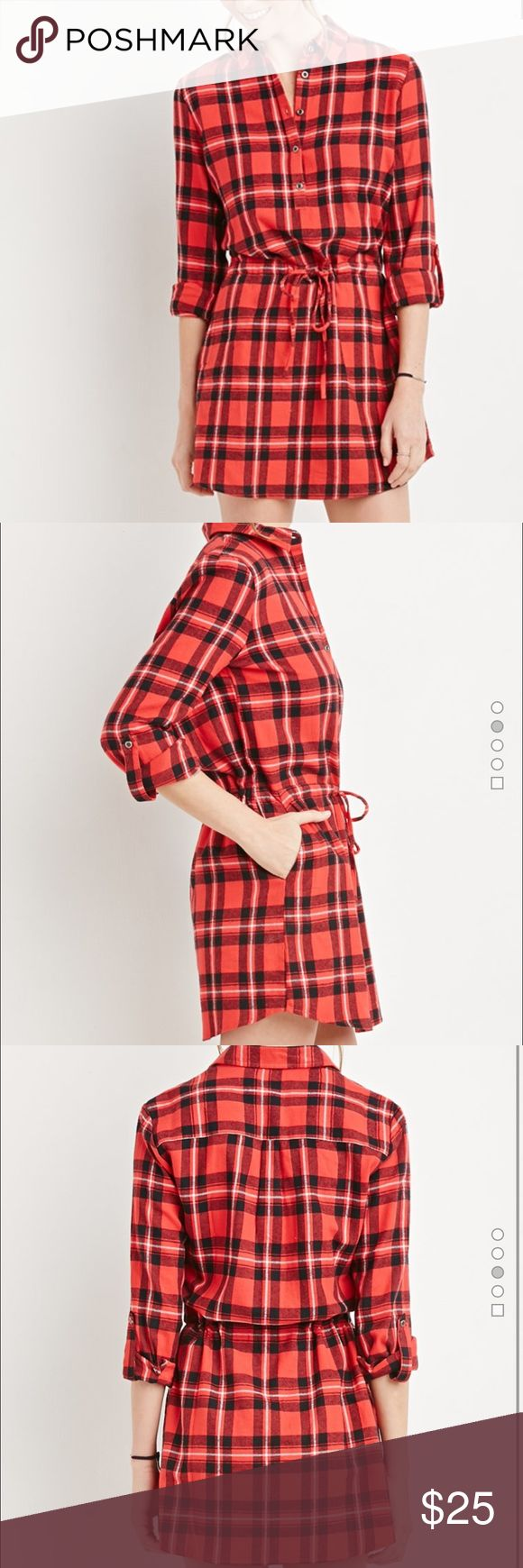 Plaid Flannel Shirt Dress 🍃🍂 PERFECT FOR FALL! Plaid Flannel Shirt Dress! This is a long sleeved mini shirt dress crafted from plaid flannel with a partially buttoned front, a basic collar, and a drawstring waist. Slanted front pockets and button-tab Sleeves. Color - Red, White & Black. Size - Small. Forever 21 Dresses