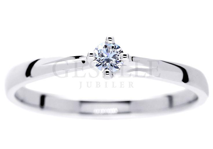 Delikatny pierścionek zaręczynowy z białego złota próby 585 z wiecznym brylantem 0,08 ct | PIERŚCIONKI ZARĘCZYNOWE \ Brylant \ Białe złoto NA PREZENT \ Pod choinkę od GESELLE Jubiler
